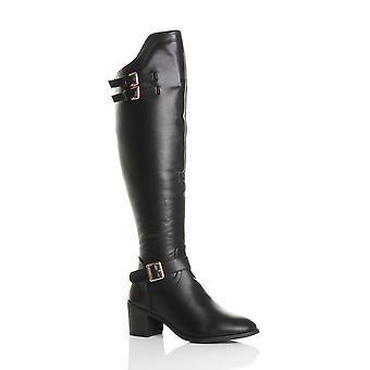 Ajvani womens medio blok hiel zip gespen western Paardrijden over knie laarzen
