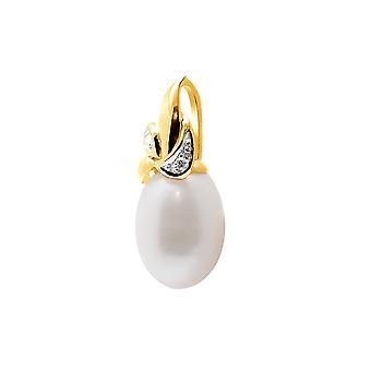 Anheng Pearl kultur av vann myk hvit, diamant og gult gull 375/1000