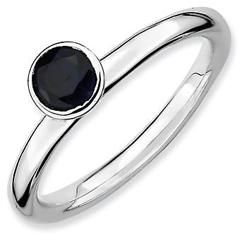 Sterling Silver Bezel Polished Rhodium-plated Stackable Expressions High 5mm Round Cr. Sapphire Ring - Size 6