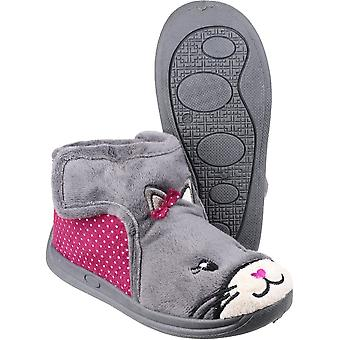 Mirak Girls Kitty Touch Fastening Bootie Textile Sole Slipper