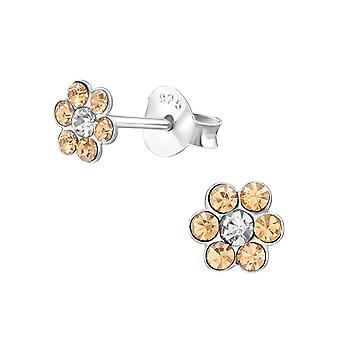 Blomst - 925 Sterling sølv Crystal øredobber