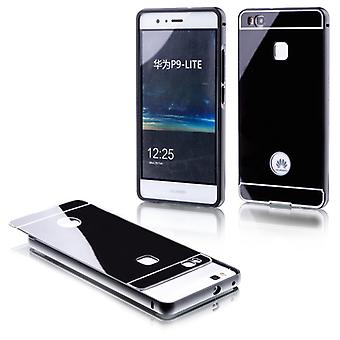 Aluminium bumper 2 pieces with cover black for Huawei P9 Lite bag sleeve case
