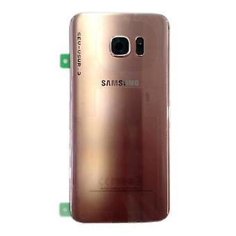 Cubierta de batería Samsung GH82-11346E para Galaxy S7 borde G935 G935F + cojín adhesivo rosa