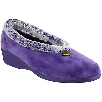 Cotswold Ladies Broadway Cozy Faux Fur Collared Slippers Light Blue