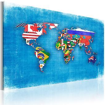 Lærred Udskriv - flag i verden
