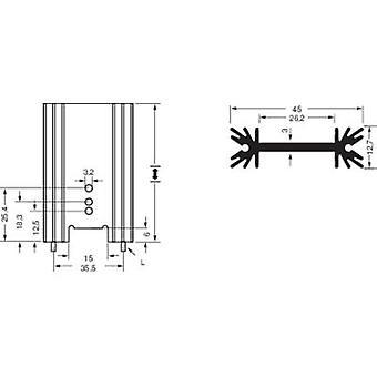 Fin heat sink 7 C/W (L x W x H) 45 x 38.1 x 12.7 mm TO 220, TO 218, TO 3P Fischer Elektronik SK 409 38,1 STS