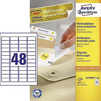 Papel de 45,7 x 21,2 mm etiquetas Avery Zweckform L4736REV-100