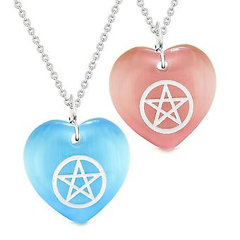 Amulets Magical Pentacle Energy Love Couples Best Friends Blue Pink Simulated Cats Eye Necklaces