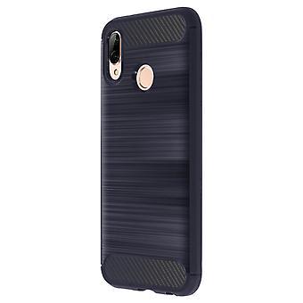 Koolstof geborsteld TPU Case, siliconen cover voor Huawei P20 Lite - Navy blue
