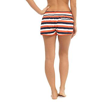 Womens Ladies Nautical Stripe Print Polyester Summer Beach Shortie Shorts