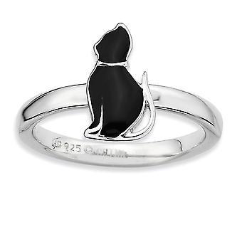 Sterling sølv poleret Rhodium-belagt sort emaljeret kat stabelbare Ring - ringstørrelse: 5-10