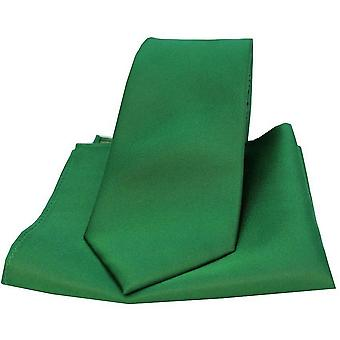 David Van Hagen Matching Satin Tie and Pocket Square Set - Emerald Green