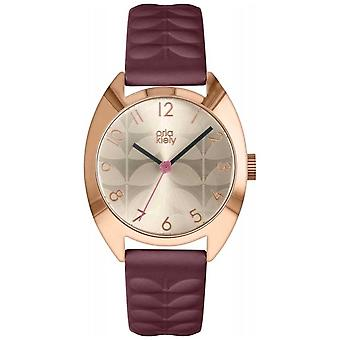Orla Kiely | Ladies Beatrice | Cream Sun Ray Dial | Plum Strap OK2296 Watch