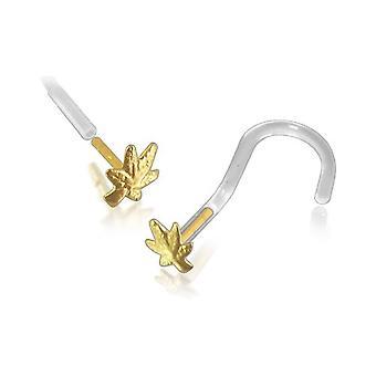 Näsa Stud skruv Piercing Bioflex piercingsmycken, 14 k gult guld, hampa Leaf
