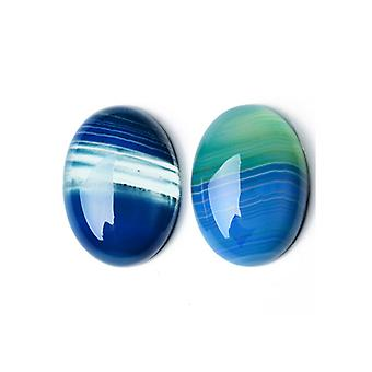 1 x blauw gestreepte Agaat vlakke terug 18 x 25 mm ovale 6.5mm dik Cabochon CA17397-3