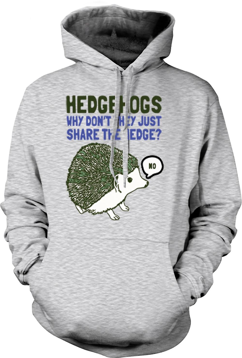Mens Hoodie - Hedgehogs Why Don't They Just Share The Hedge?