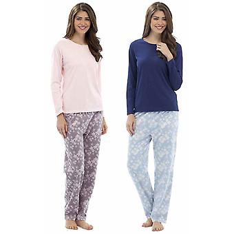 2 Pack Ladies Foxbury Snowflake Print Winter Long Pyjamas pajama Sleepwear