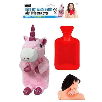 1L Litre Hot Water Bottle with Plush Unicorn Cover Winter Warm & Cosy Soothing
