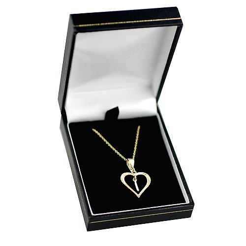 9ct Gold 18x18mm initial I in a heart Pendant with a cable Chain 16 inches Only Suitable for Children