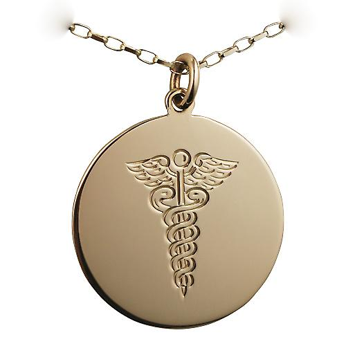 9ct Gold 26mm round disc with Medical Symbol with a belcher chain