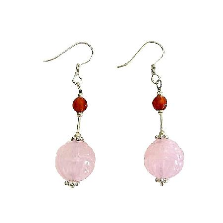 Rose Quartz 12mm Stone Sterling Silver Beads Fashion Earrings