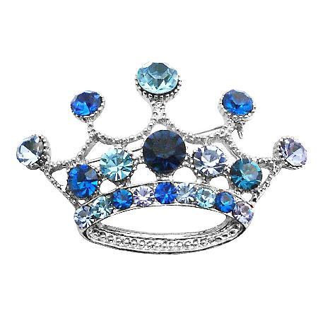 Vintage Crown Brooch Crystals Lite & Dark Blue Crown Brooch