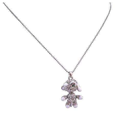 Cute Dog Pendant Sparkling Crystal Hands Legs Movable Pendant Necklace