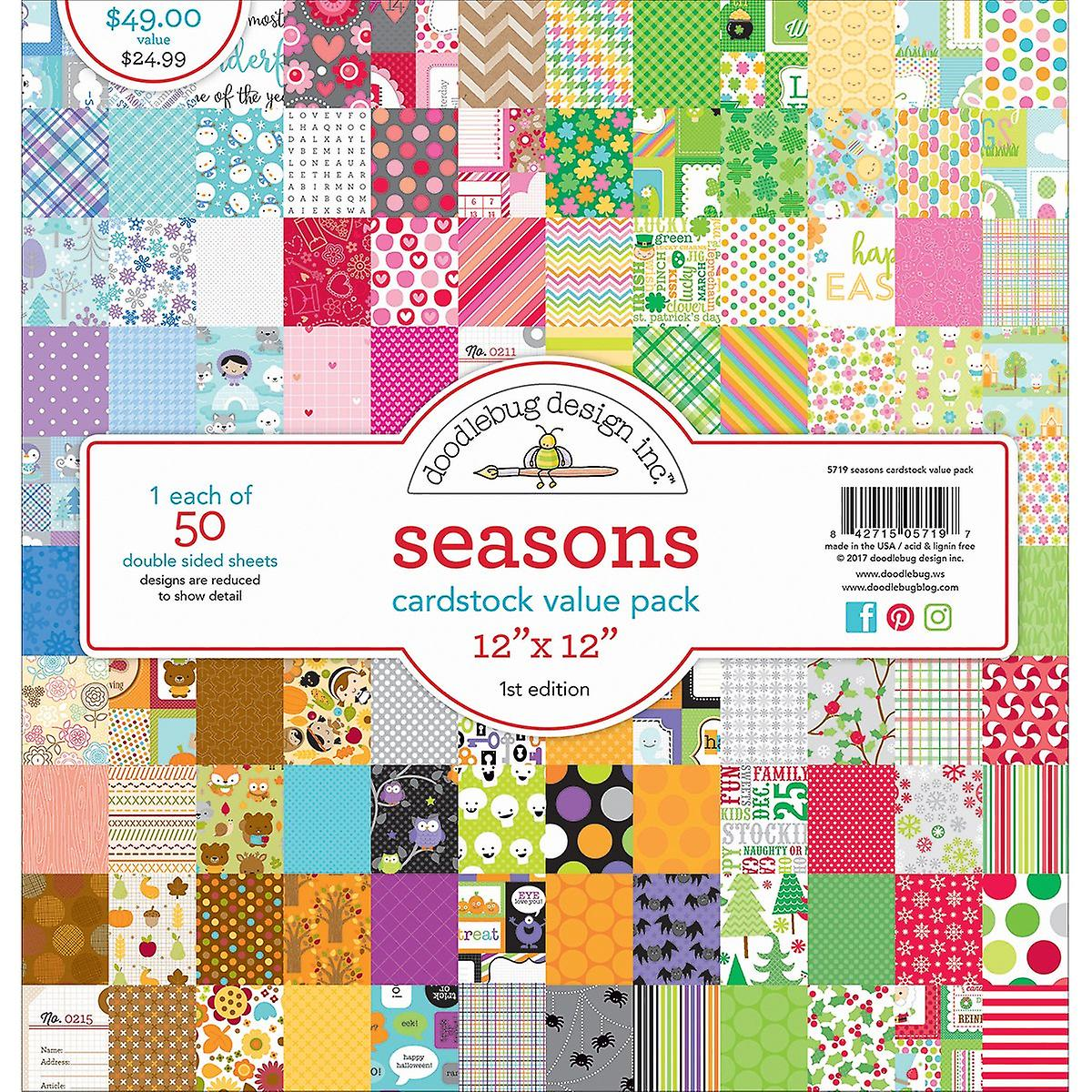 Doodlebug Value Kit voituredstock 12& 034;X12& 034; 50 Pkg-Seasons