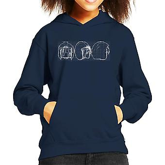 Original Stormtrooper Rebel Pilot Helmet Blueprint Kid's Hooded Sweatshirt
