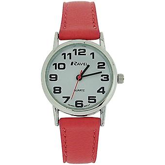 Ravel Ladies - Womens White Dial & Pink PU Buckle Strap Watch R0105.13.15L