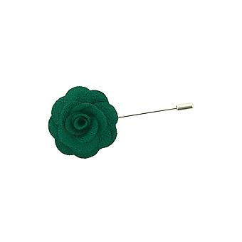 Dobell Mens Racing Green Flower Lapel Pin for Suit, Jacket, Blazer, Wedding Accessory