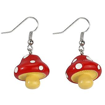 Funky Red Toadstool Resin Drop Earrings