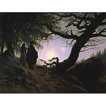 Two Men Looking at the Moon,Caspar David Friedrich,50x38cm