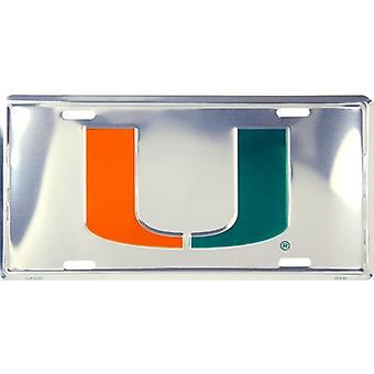 Miami Hurricanes NCAA Silver Mirror License Plate