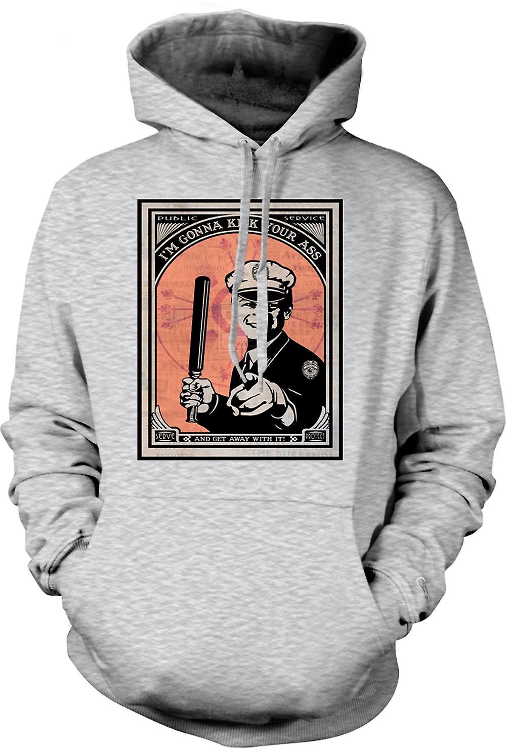 Mens Hoodie - État policier - Im Gonna Kick Your Ass