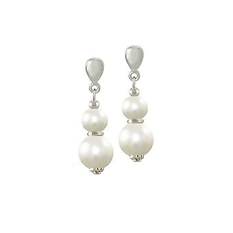 Eternal Collection Delicate White Shell Pearl Silver Drop Clip On Earrings