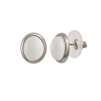 Eternal Collection Minuet White Mountain Jade Silver Tone Stud Pierced Earrings