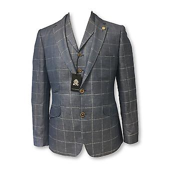 Guide London jacket with waistcoat in blue check