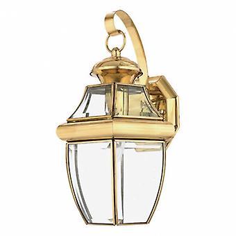 1 Light Outdoor Medium Wall Lantern Light Polished Brass Ip44