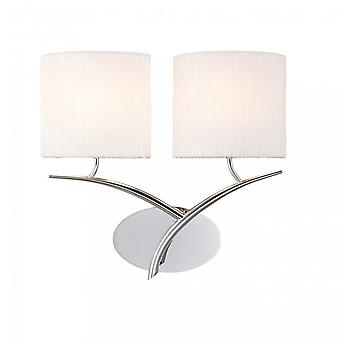 Mantra Eve Wall Lamp Switched 2 Light E27, Polished Chrome With White Oval Shades