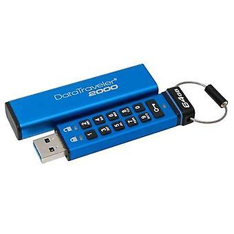 Kingston dt2000 USB-minne 3,0 64gb färg blå