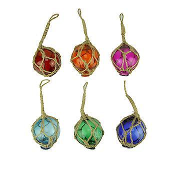 Colorful Mini Glass Floats in Fishing Net Nautical Ornaments Set of 6