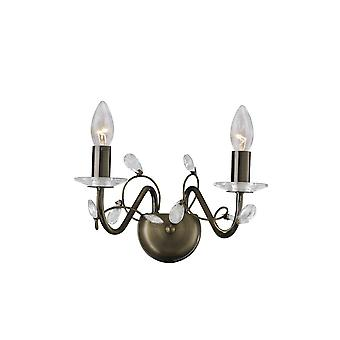 Diyas Willow Wall Lamp Without Shade 2 Light Antique Brass/Crystal