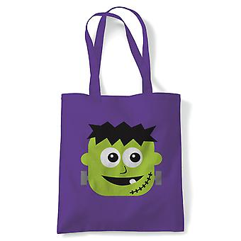 Baby Frankenstein Tote | Halloween Fancy Dress Costume Trick Or Treat | Reusable Shopping Cotton Canvas Long Handled Natural Shopper Eco-Friendly Fashion