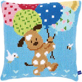 Dog With Balloons Cushion Cross Stitch Kit-15.75