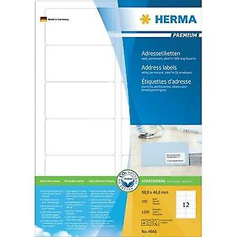 Herma 4666 Labels (A4) 88.9 x 46.6 mm Paper White 1200 pc(s) Permanent All-purpose labels, Address labels Inkjet, Laser,