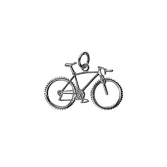 Silver 17x29mm Bicycle and Cyclist Pendant or Charm