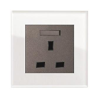 I LumoS AS Luxury White Crystal Glass  Single Switched Wall Plug  13A UK Sockets