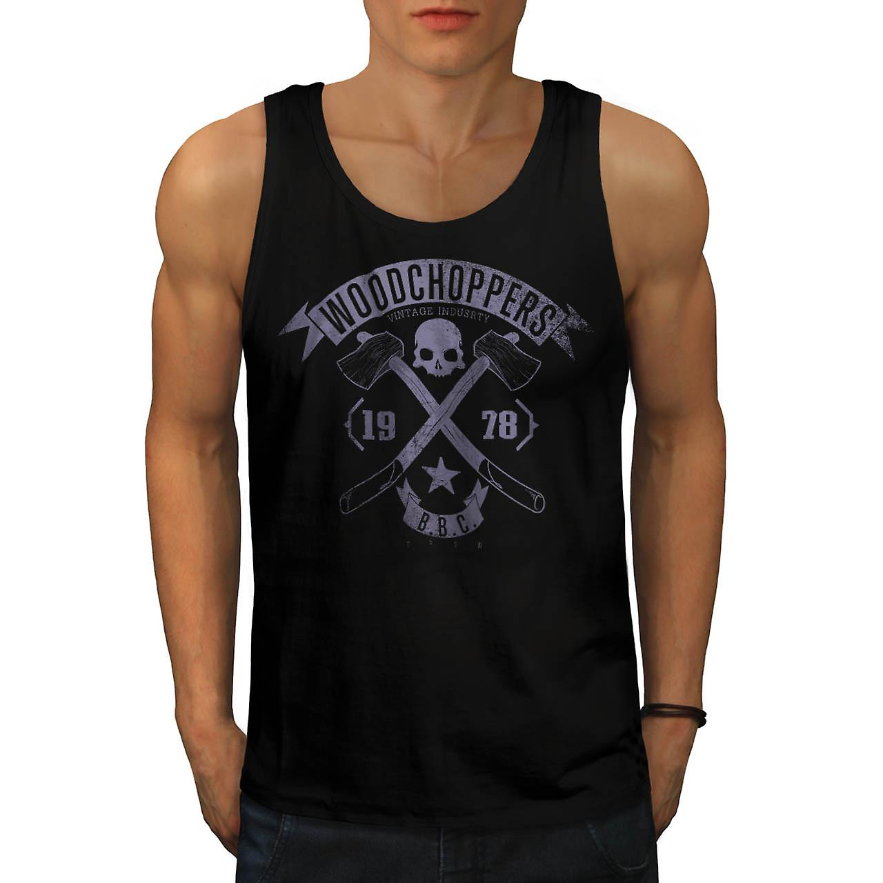 Wood Chopper Company Vintage Men Black Tank Top | Wellcoda
