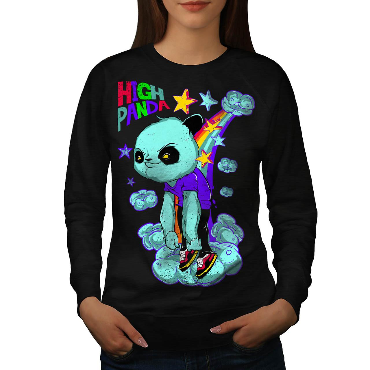 High Evil Panda China Rainbow Women Black Sweatshirt | Wellcoda